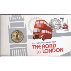 2012 $1 Australian Olympic Team The Road to London Coin & Stamp Cover PNC