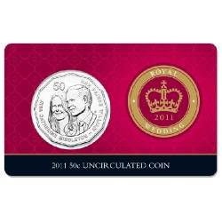 2011 50c Royal Wedding Uncirculated Coin in Card