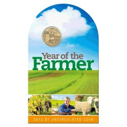 2012 $1 Australian Year of the Farmer Uncirculated Coin in Card