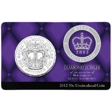 2012 50c Diamond Jubilee of the Ascension of QEII Uncirculated Coin in Card