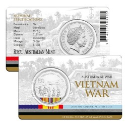 2016 50c Australia at War Series - Vietnam War Unc Coin in Card