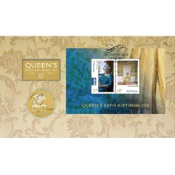 2011 $1 Queens 85th Birthday Coin & Stamp Cover PNC