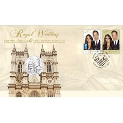 2011 50c Royal Wedding Coin & Stamp Cover PNC