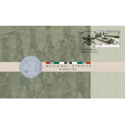 2010 50c National Service Coin & Stamp Cover PNC