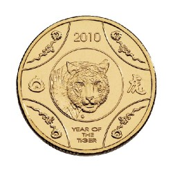 2010 $1 Lunar Year of the Tiger AlBr Uncirculated Coin in Card