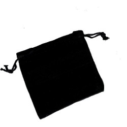 Black Velvet Coin / Jewellery Pouch with drawstring 6x8cm