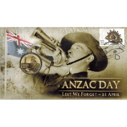 2012 $1 ANZAC Day Lest We Forget Coin & Stamp Cover PNC