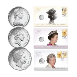 2016 Queens 90th Birthday - Effigy Set of 3 Coin & Stamp Covers PNC