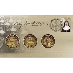 2010 Mary Mac Killop 3 Medallion & Stamp Cover PNC
