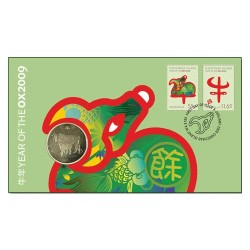 2009 $1 Year of the Ox Coin & Stamp Cover PNC