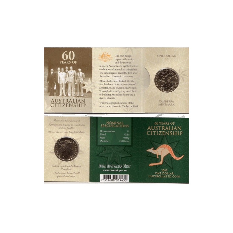 2009 $1 60 Years of Australian Citizenship C Mint Mark Unc Coin in RAM Card