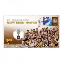 2008 AFL Premiers Hawthorn Hawks Limited Edition Medallion & Stamp Cover PNC