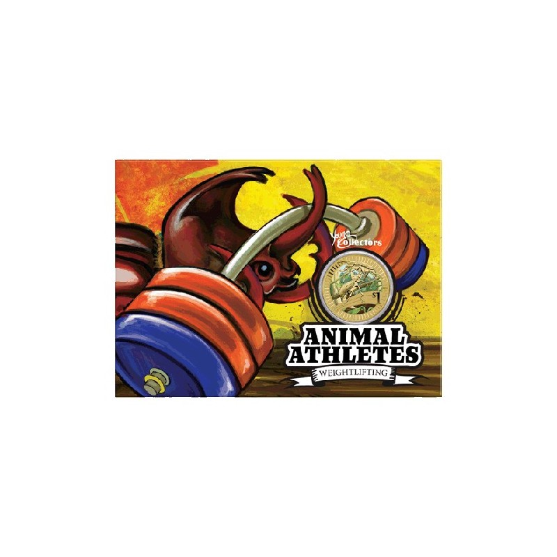2012 $1 Young Collectors Animal Athletes - Rhinoceros Beetle Unc Coin in Card