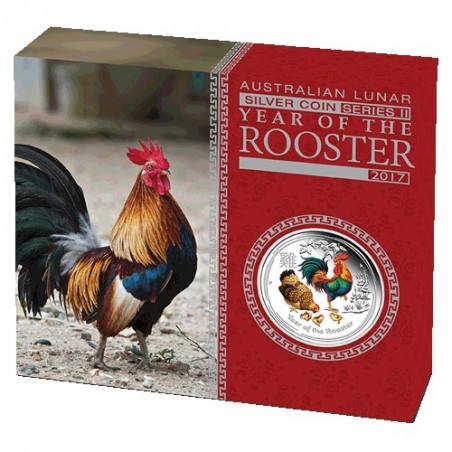 2017 $1 Australian Lunar Year of the Rooster 1oz Silver Coloured Edition Coin