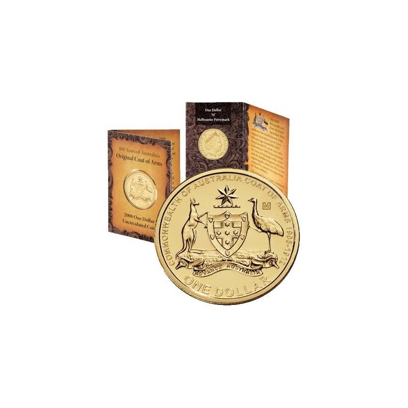 2008 Australian Coat of Arms $1 Coin Sydney /'S/' Privymark