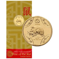 2008 $1 Lunar Year of the Rat / Mouse Al Br Uncirculated Coin in RAM Card