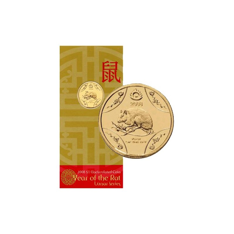 2008 1 lunar year of the rat mouse al br uncirculated coin in ram card coin city. Black Bedroom Furniture Sets. Home Design Ideas