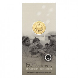 2007 $1 60th Anniversary of Australian Peacekeeping Uncirculated Coin in Card