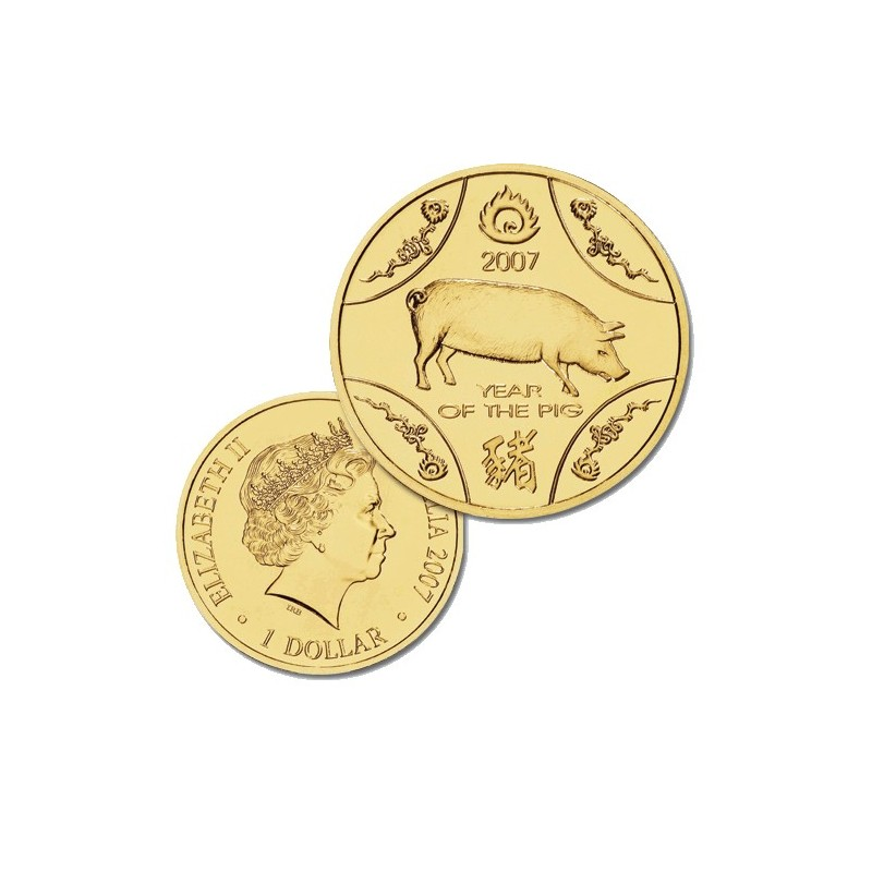 2007 $1 Lunar Year of the Pig Uncirculated Coin in Card
