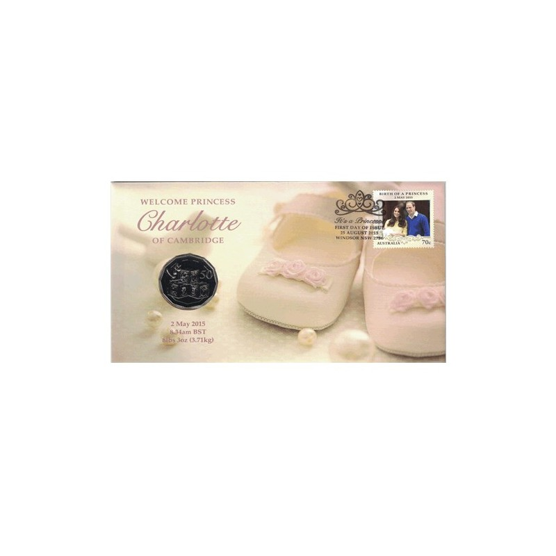 2015 50c Princess Charlotte of Cambridge Coin & Stamp Cover PNC