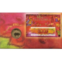 2007 50c Lunar Year of the Pig Coin & Stamp Cover PNC