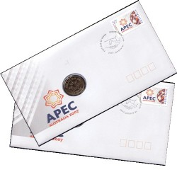 2007 $1 APEC Summit 2 Consecutive Coin & Stamp Cover PNC