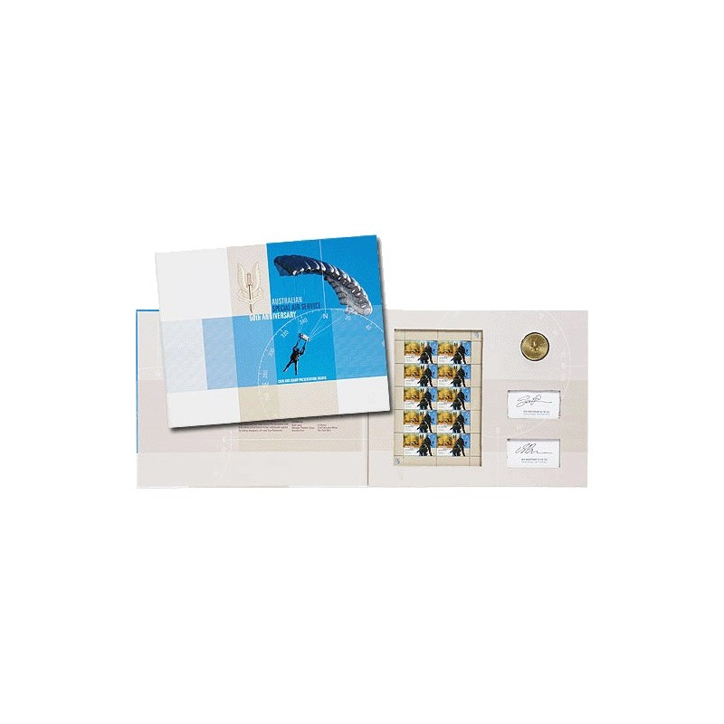 2007 $1 SAS Australian Special Air Services Gold Foil Coin & Stamp Folder Ltd Ed