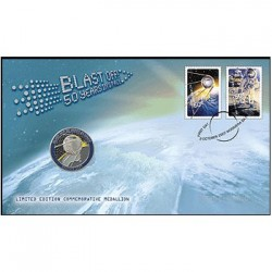 2007 Blast Off 50 Years of Space Stamp & Medallion Cover PNC