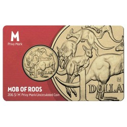 2016 $1 Melbourne Money Expo Mob of Roos M Privy Mark Unc Coin in Card