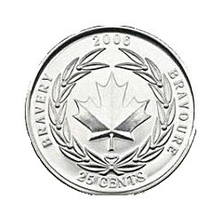 2006 Canada 25c Bravery Uncirculated Coin in 2x2
