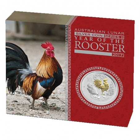 2017 $1 Australian Lunar Year of the Rooster 1oz Silver Gilded Coin