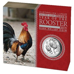 2017 $1 Australian Lunar Year of the Rooster High Relief 1oz Silver Proof Coin