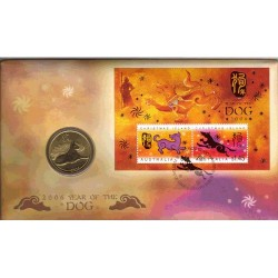 2006 50c Year of the Dog Coin & Stamp Cover PNC