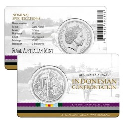 2016 50c Australia at War Series - Indonesian Confrontation Unc Coin in Card