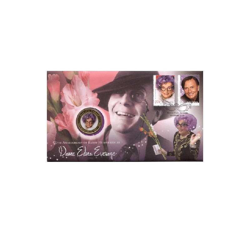 2006 50c Dame Edna Everage Coin & Stamp Cover PNC