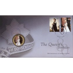 2006 50c Queen Elizabeth II 80th Birthday Coin & Stamp Cover PNC