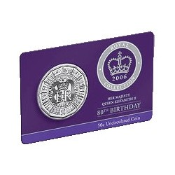 2006 50c Queens 80th Birthday Uncirculated Coin in Card