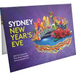 2017 $1 Sydney New Year's Eve Coloured Fine Silver Frosted Uncirculated Coin