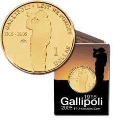 2005 $1 Gallipoli 1915 - 2005 B Mintmark Unc Coin in RAM Card