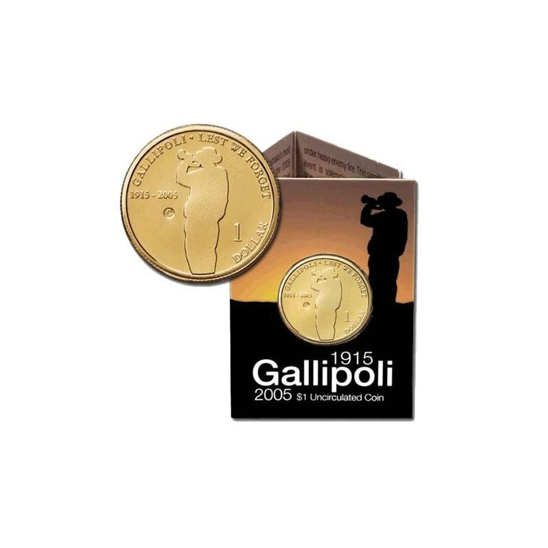 2005 $1 Gallipoli 1915 - 2005 G Mintmark Unc Coin in RAM Card