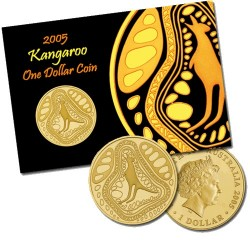 2005 $1 Indigenous Kangaroo Uncirculated Coin in Full Colour Pack