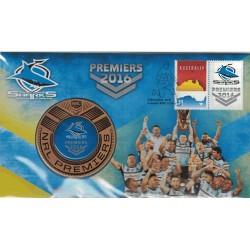2016 NRL Premiers Cronulla Sharks Medallion & Stamp Cover PNC