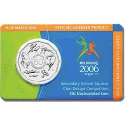 2006 50c Student Design Commonwealth Games Uncirculated Coin in RAM Card