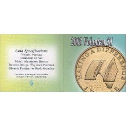 2003 $1 Australia's Volunteers Uncirculated Coin in Pack