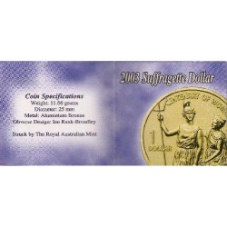 2003 $1 Centenary of Women's Suffragette Uncirculated Coin in Pack