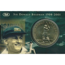 2001 $5 Sir Donald Bradman Uncirculated Coin in Card