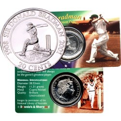 2001 20c Sir Donald Bradman Uncirculated Coin in Colour Card