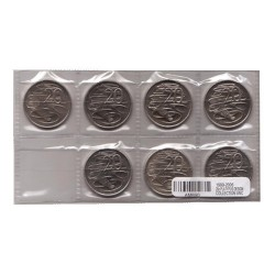 1999 - 2006  20c Platypus Set of 7 Uncirculated Coins