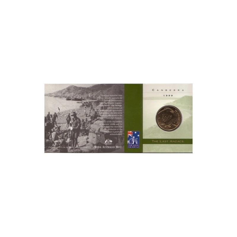 1999 Australia The Last Anzacs $1 Coin Canberra /'C/' Mintmark