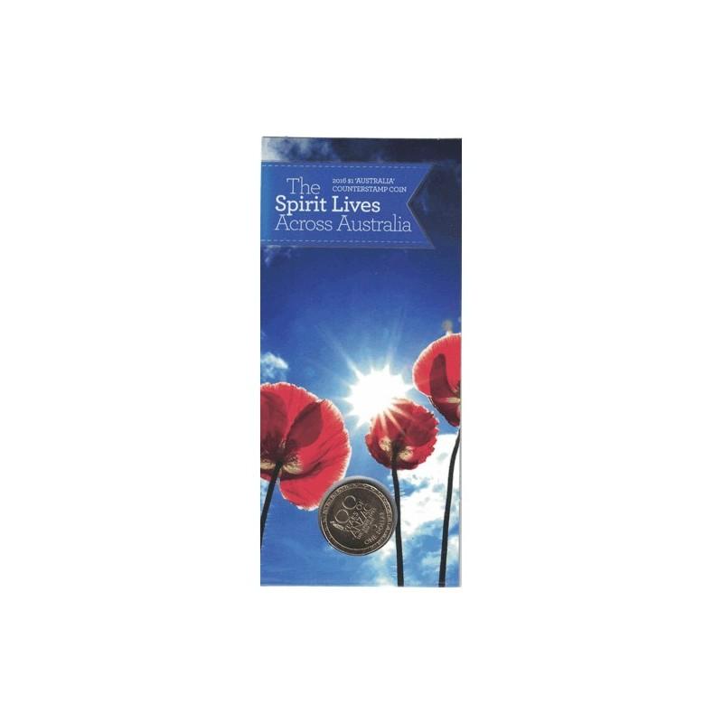 2016 $1 ANZAC The Spirit Lives across Australia Counterstamp Unc Coin
